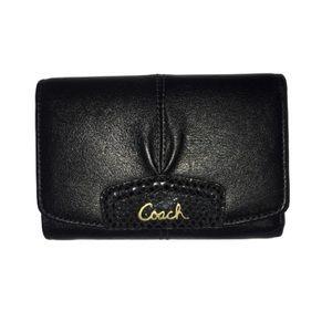 Coach Black Wallet Ashley Compact Clutch Persimmon